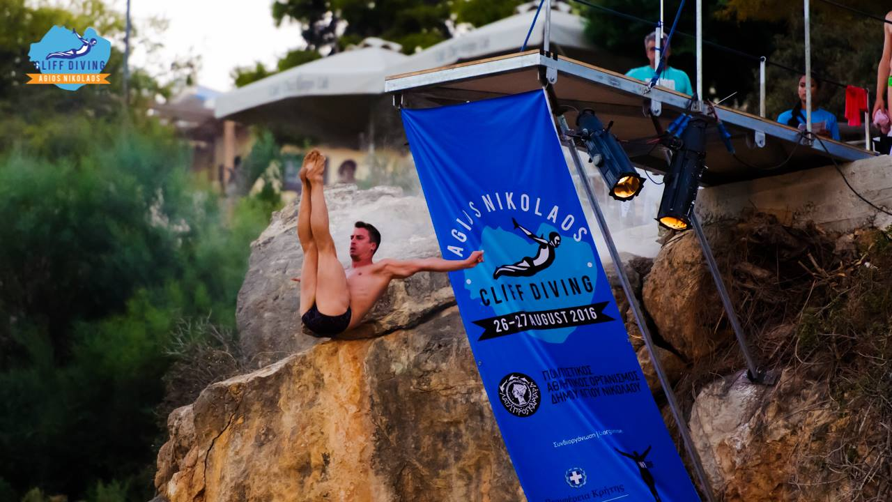 jumping off the cliff in agios nikolaos