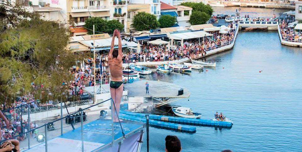 ready for the jump in agios nikolaos lake